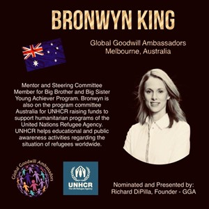 Bronwyn King - Melbourne - Australia - Global Goodwill Ambassadors