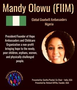 Mandy Olowu cares for the needy - poor children and orphans - with Hope Ambassadors and Childcare - Global Goodwill Ambassadors (GGA)