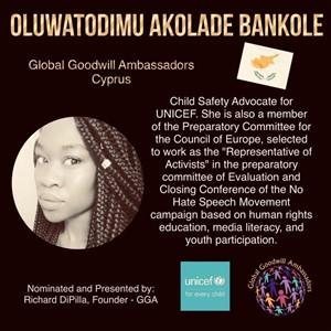 Oluwatodimu Akolade Bankole - Cyprus - Global Goodwill Ambassadors