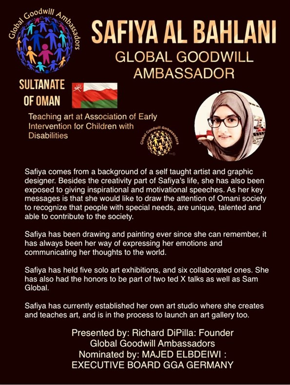 Safiya Al Bahlani - Sultanate of Oman - Global Goodwill Ambassadors