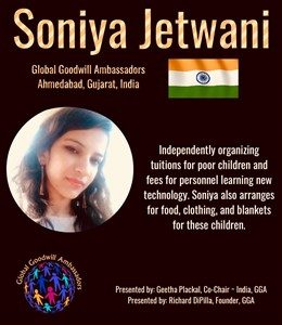 Soniya Jetwani organizes tuitions for poor children and helps them with food, clothing and blankets - Global Goodwill Ambassadors (GGA)