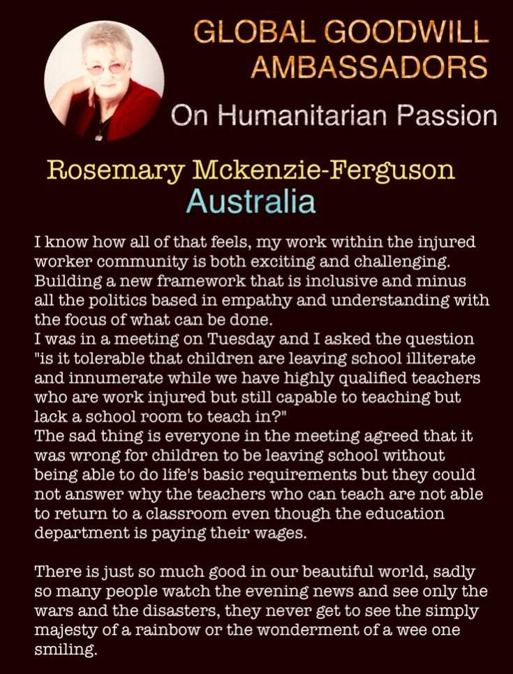 Rosemary McKenzie-Ferguson - Global Goodwill Ambassador - on humanitarian mission within the injured worker community in Australia